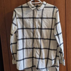 H&M White and Black Flannel Shirt